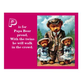 Proud Papa Bear - Letter P - Vintage Teddy Bear Postcard