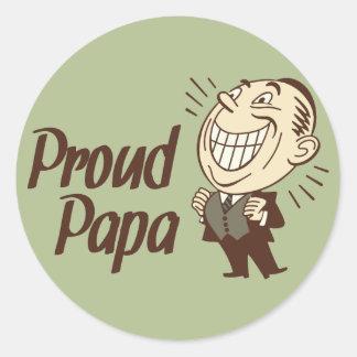 Proud Papa Retro Stickers