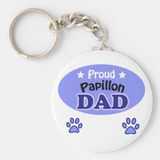 Proud Papillon Dad Basic Round Button Keychain