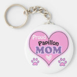 Proud Papillon Mom Basic Round Button Keychain