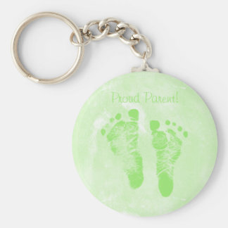 Proud Parent Baby Footprints New Baby Annoucements Keychain