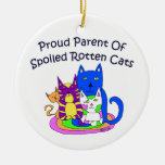 Proud Parent Of Spolied Rotten Cats Double-Sided Ceramic Round Christmas Ornament