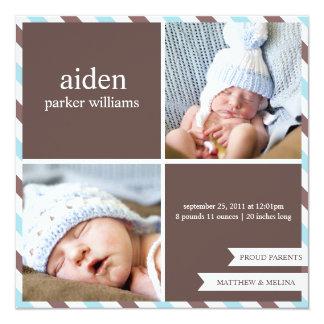 "PROUD PARENTS   BIRTH ANNOUNCEMENT 5.25"" SQUARE INVITATION CARD"