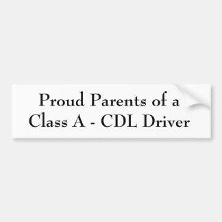 Proud Parents of a Class A - CDL Driver Bumper Stickers