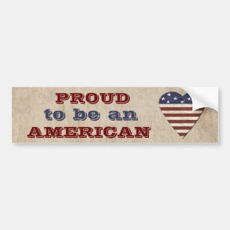 Proud Patriotic American with Heart Bumper Sticker