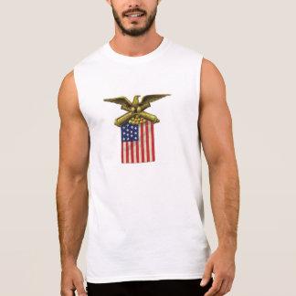 Proud Patriotic USA Flag Red White Blue Sleeveless Shirts