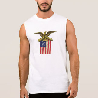 Proud Patriotic USA Flag Red White Blue Sleeveless Shirts