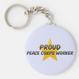 Proud Peace Corps Worker Basic Round Button Keychain