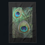 """Proud Peacock &amp; Black Kitchen Towels<br><div class=""""desc"""">Bright green,  blue and gold peacock feathers with coordinating colors make this line of products for home decorations bold and beautiful. Peacock feathers photograph &#169; weim - Fotolia.com</div>"""
