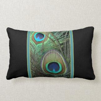 Proud Peacock Black Lumbar Pillow