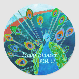 Proud Peacock Blue Baby Shower Favor Stickers