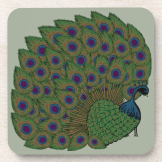 Proud Peacock Plastic Coasters