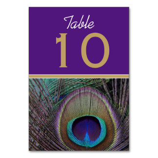 Proud Peacock Purple Table Number Cards