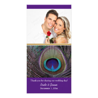 Proud Peacock Purple Thank You Photo Cards