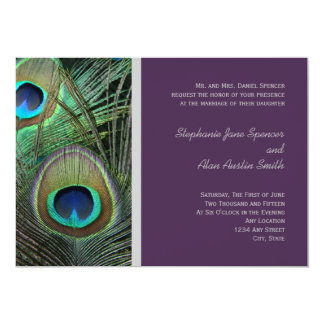 Proud Peacock Purple Wedding Invitation