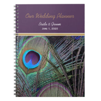 Proud Peacock Purple Wedding Notebook