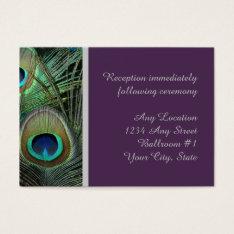 Proud Peacock Purple Wedding Reception Business Card at Zazzle