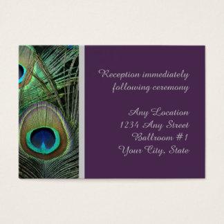 Proud Peacock Purple Wedding Reception Business Card