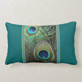 Proud Peacock & Teal Lumbar Pillow