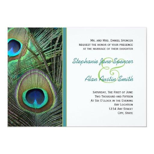 "Proud Peacock Wedding Invitation 5"" X 7"" Invitation Card"
