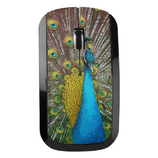 Proud Peacock with Majestic Plumage on Display Wireless Mouse