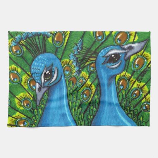 Proud Peafowl illustration Kitchen Towel