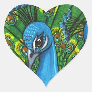 Proud Peafowl illustration Heart Stickers