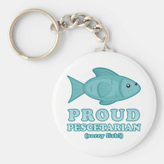 Proud Pescetarian Basic Round Button Keychain