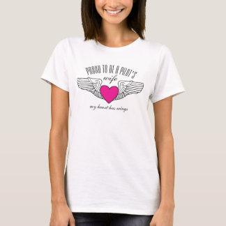 Proud Pilot Wife Pink Heart Wings T-Shirt