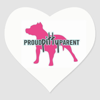Proud Pitty Parents Heart Stickers
