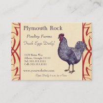 Proud Plymouth Rock Rooster Poultry Farm Business Card