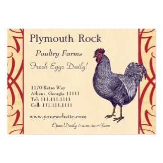 Proud Plymouth Rock Rooster Poultry Farm Large Business Card