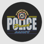 Proud Police Aunt Round Stickers