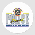 Proud Police Mother Classic Round Sticker
