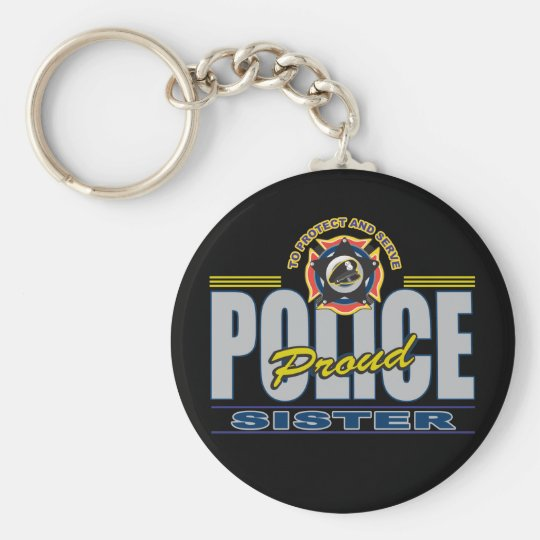 Proud Police Sister Keychain