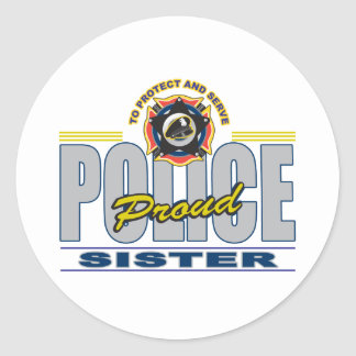 Proud Police Sister Round Stickers