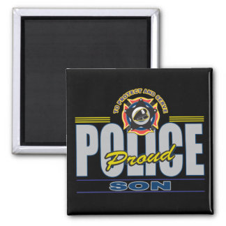 Proud Police Son 2 Inch Square Magnet