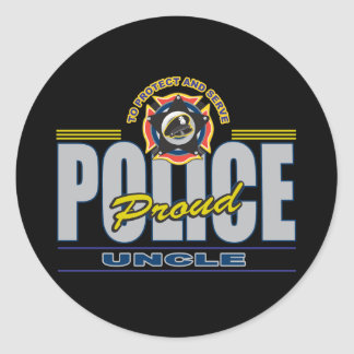 Proud Police Uncle Classic Round Sticker
