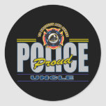 Proud Police Uncle Round Stickers
