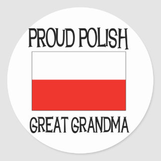 Proud Polish Great Grandma Classic Round Sticker