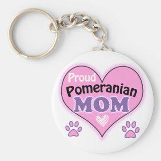 Proud Pomeranian Mom Basic Round Button Keychain
