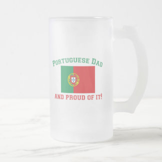 Proud Portuguese Dad Frosted Glass Beer Mug