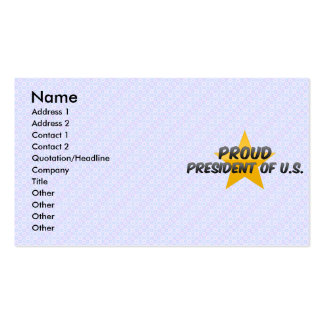 Proud President Of U S Business Card Templates