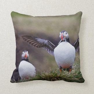 Proud Puffin Throw Pillow