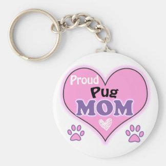 Proud Pug Mom Basic Round Button Keychain