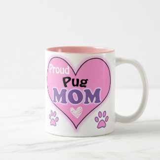 Proud Pug Mom Two-Tone Coffee Mug
