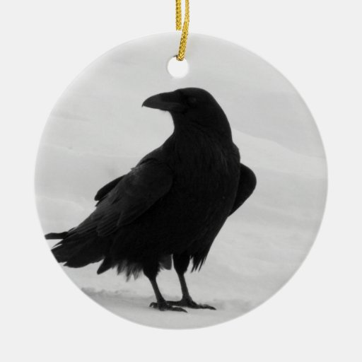 Proud Raven Double-Sided Ceramic Round Christmas Ornament