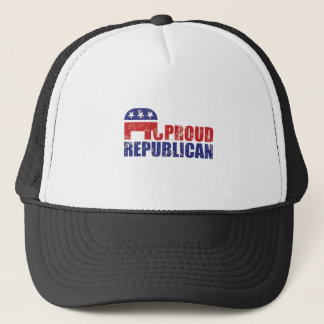 Proud Republican Elephant Distressed Tan Trucker Hat