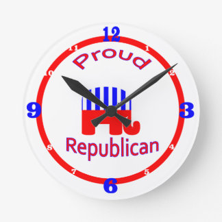 Proud Republican Round Clock
