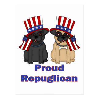 Proud Repuglican Fawn and Black Pug Tees, Gifts Postcard